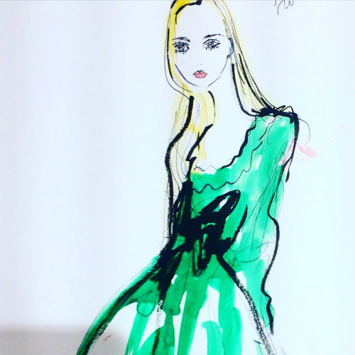 Live drawing illustration of light green dress