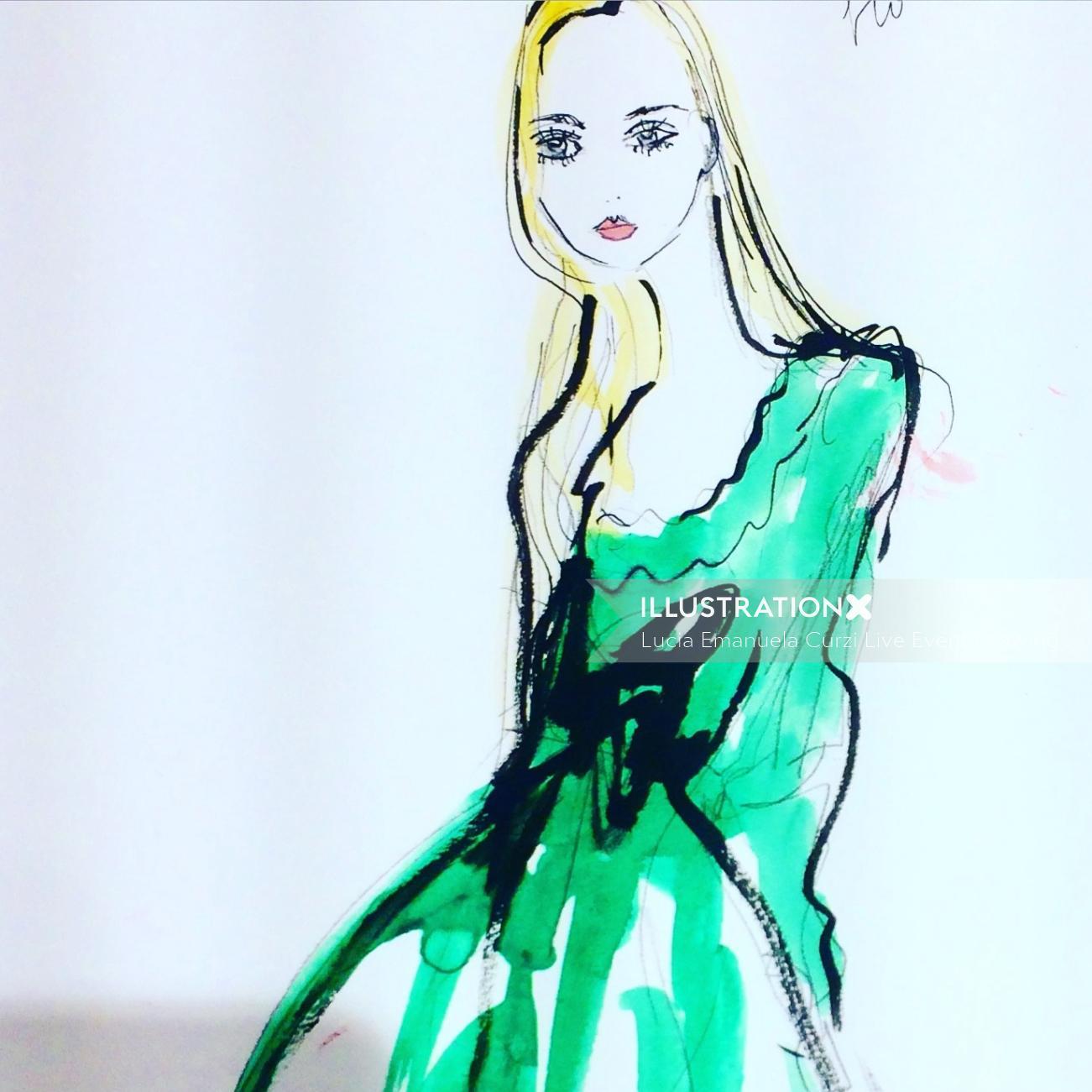 Live drawing illustration of light green dress