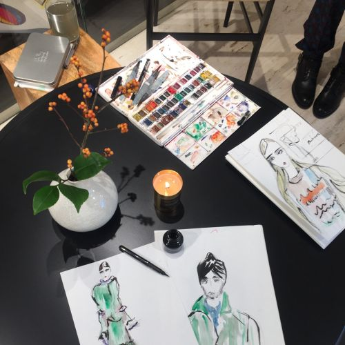 Live event drawing on table