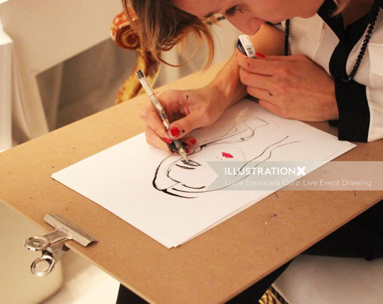 Live portrait drawing by Lucia Emanuela Curzi