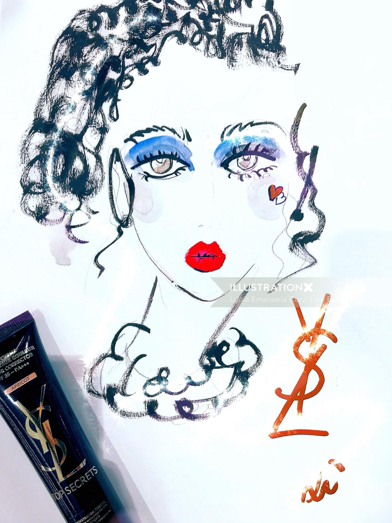 Live event drawing curly hair beauty