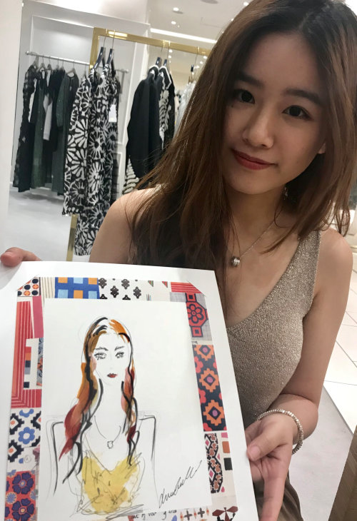 Live event drawing of asian girl