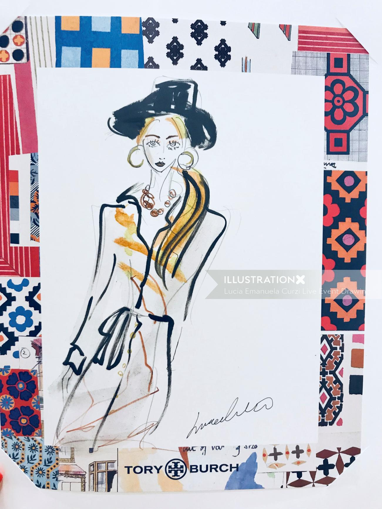Live event drawing Tory Burch fashion