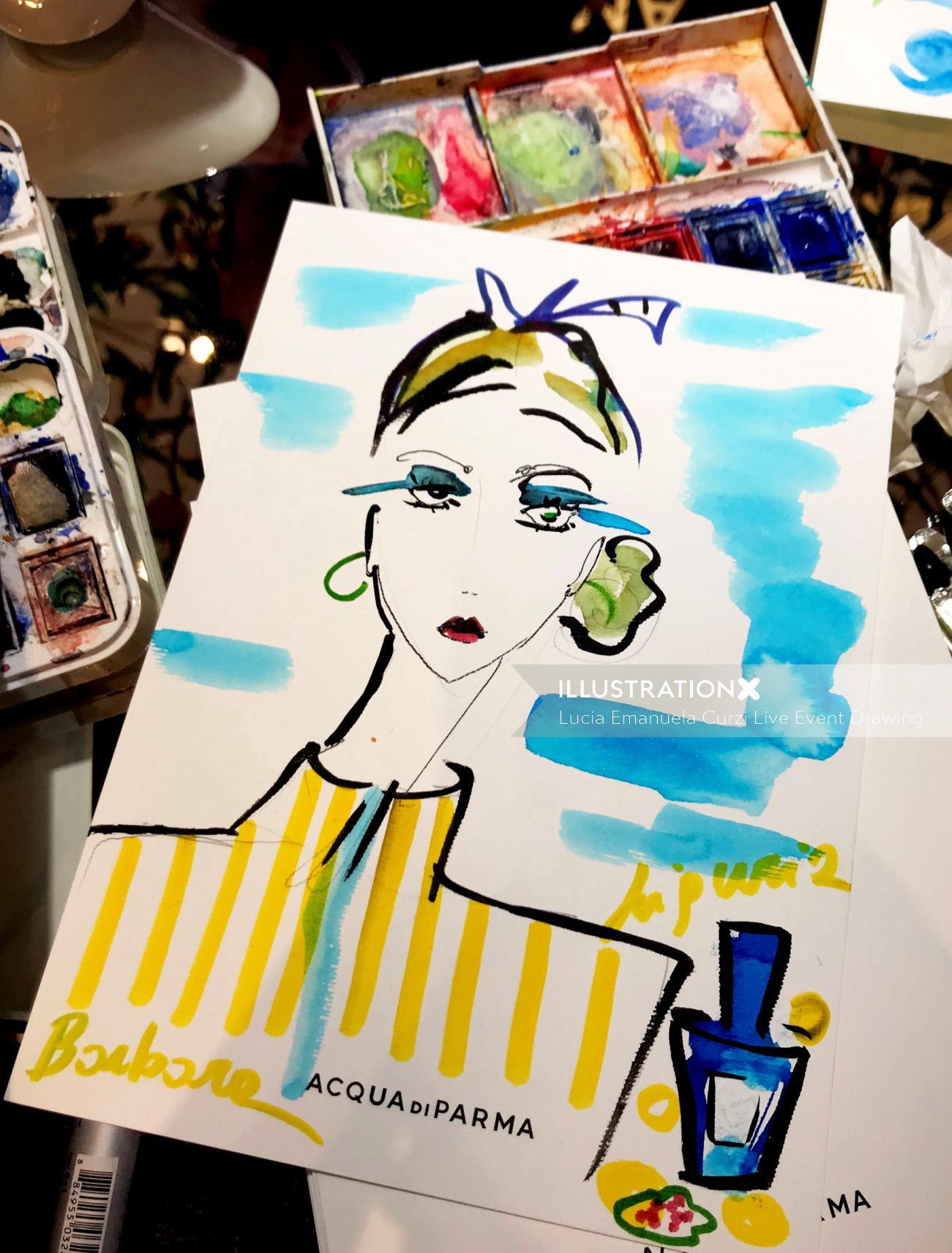 Live event drawing fashion portrait