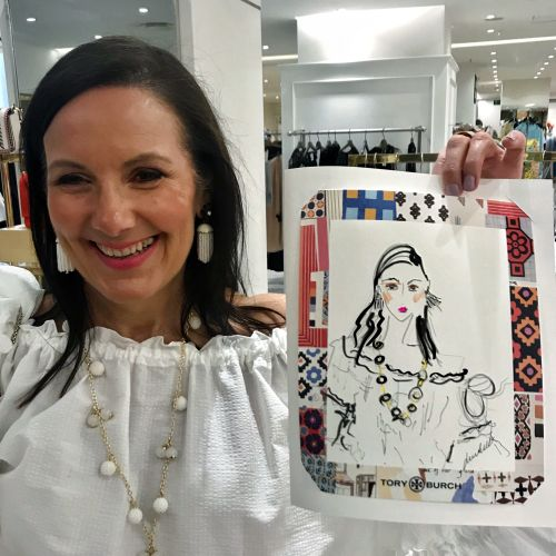 Live event drawing of happy woman