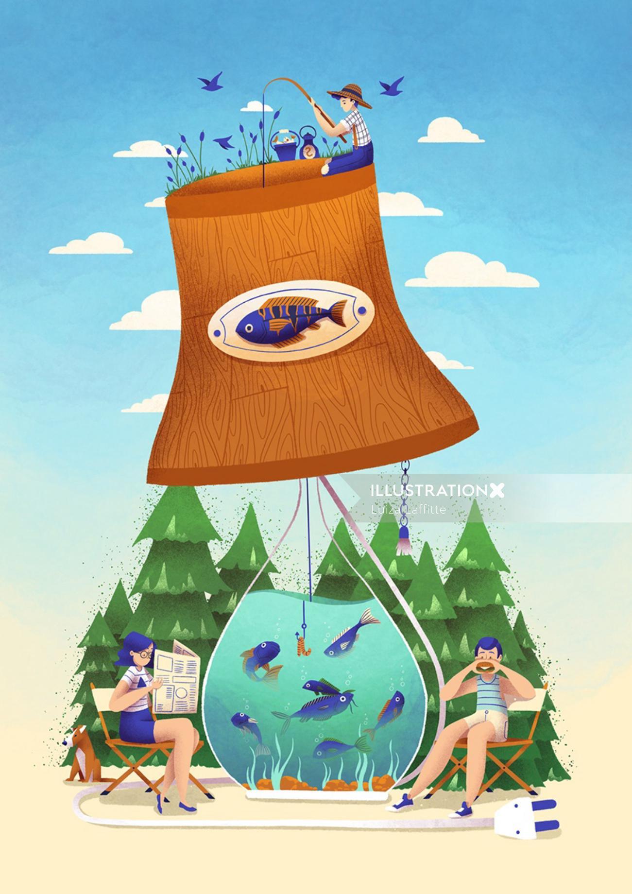See It & Draw It - Lake Lamp