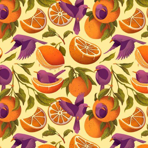 Patterns Oranges and Birds