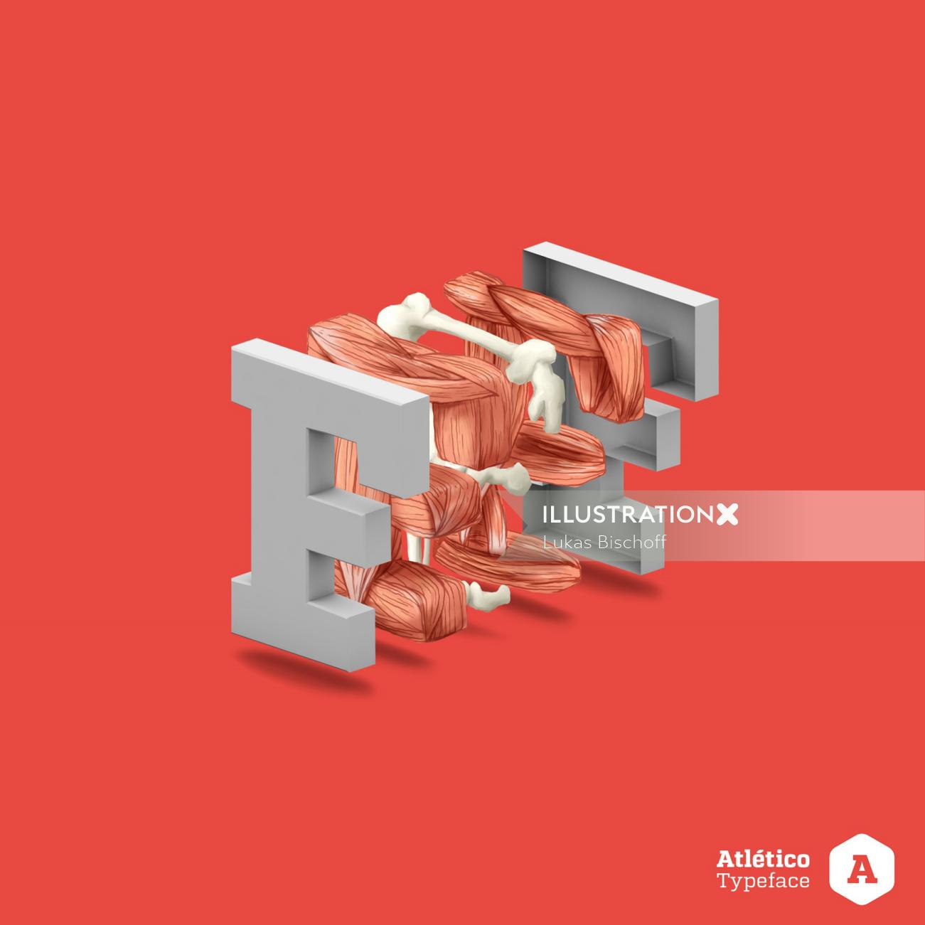 3d letter illustration F
