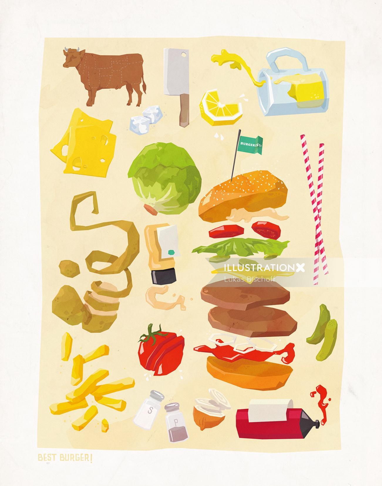 Food and drink illustration of fast food