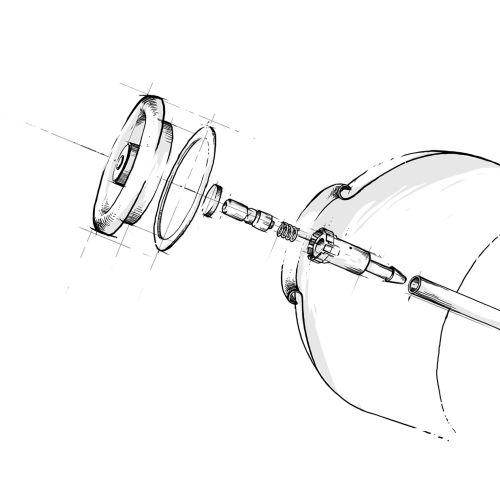 Technical line illustration of bulb