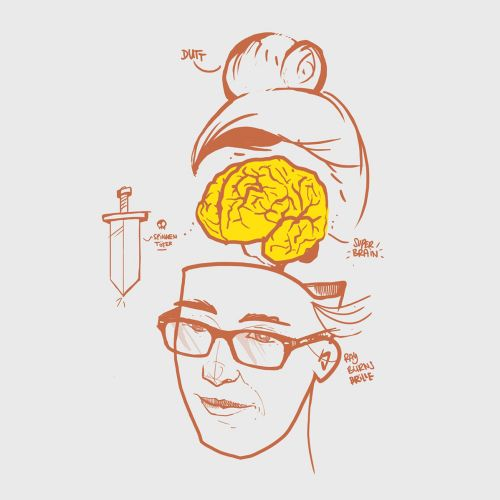 Cartoon and humour man with open brain