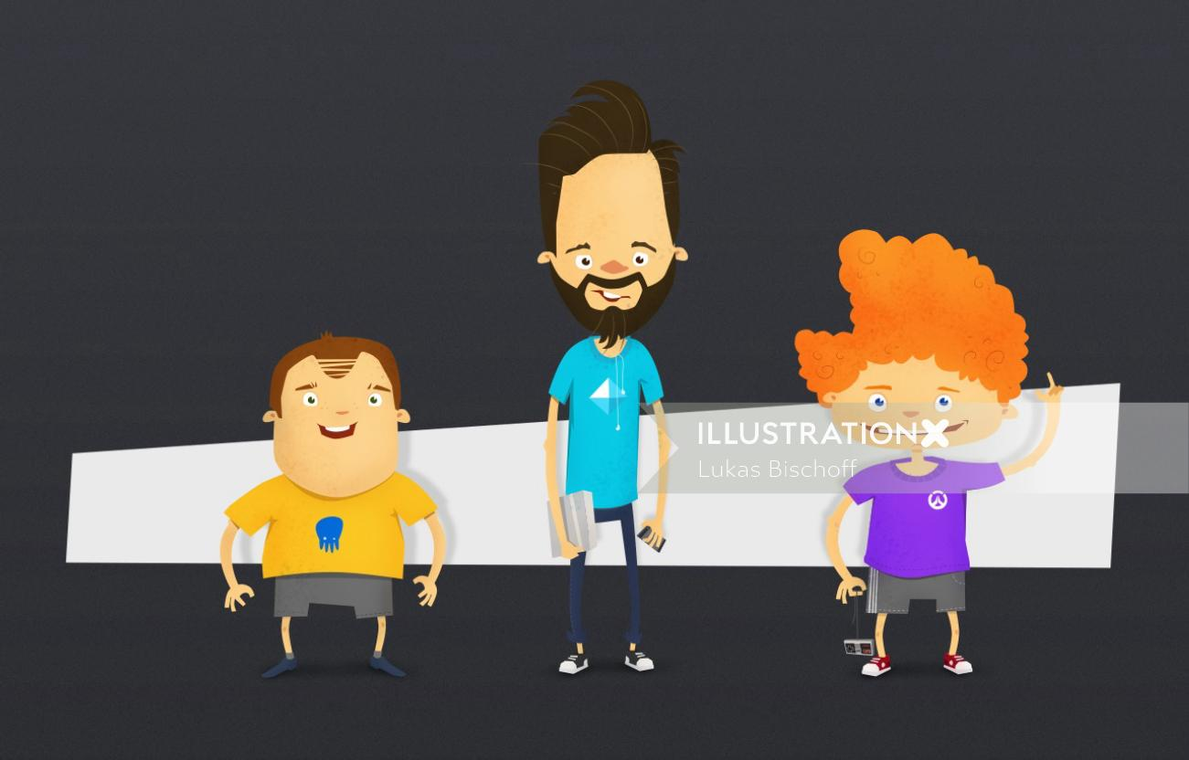 cartoon character design of father and sons
