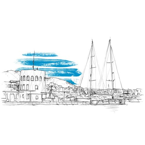 Line illustration of harbour