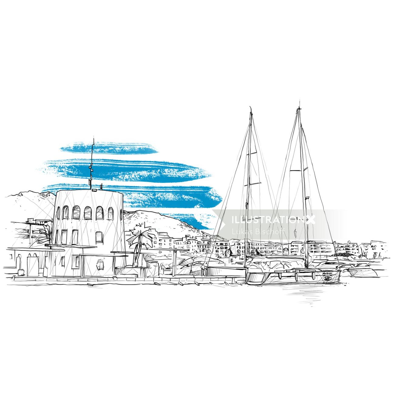 Line illustration of harbour