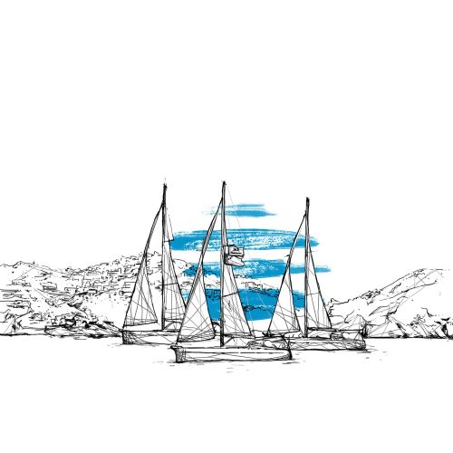 Line illustration of boats in sea