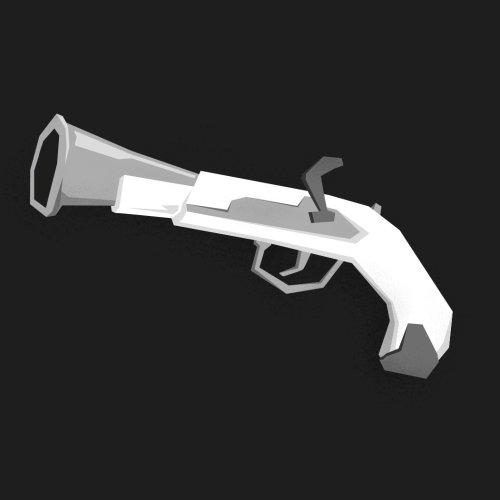 Black and white illustration of gun