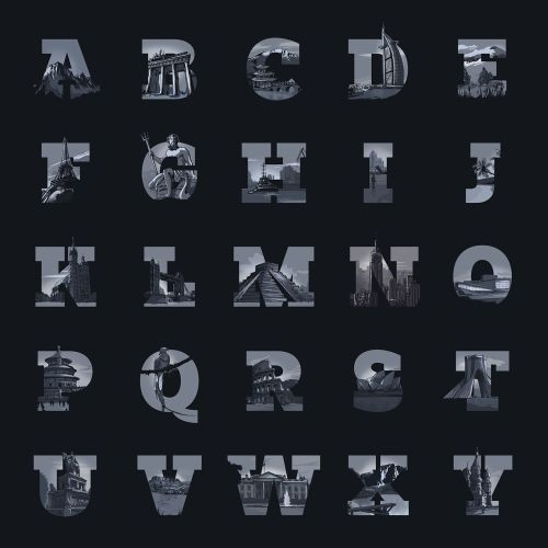 Lettering illustration of alphabets