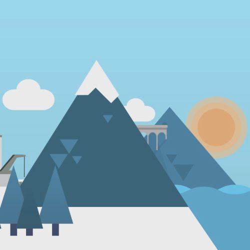 City with hills illustration