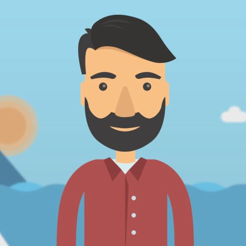 Illustration of man posing at sea