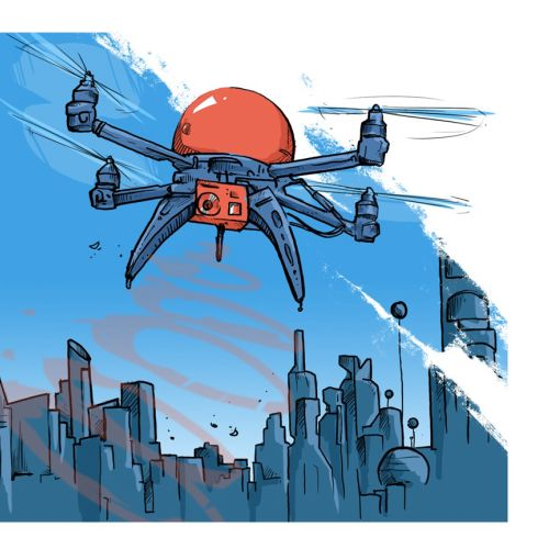 Illustration of drones in city