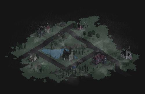 Night illustration of City map