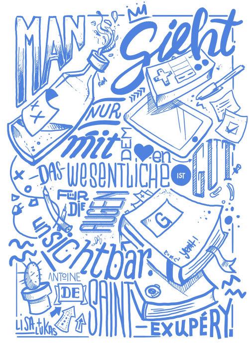 Blue lettering illustration