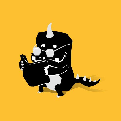 ink drawing monster reading book on yellow background
