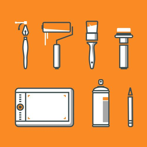 vector illustration of painting brushes