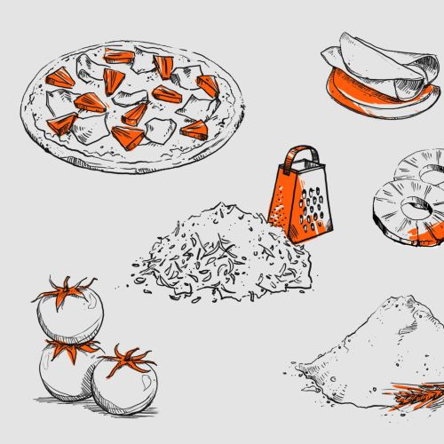 Food illustration of fruits and vegetables