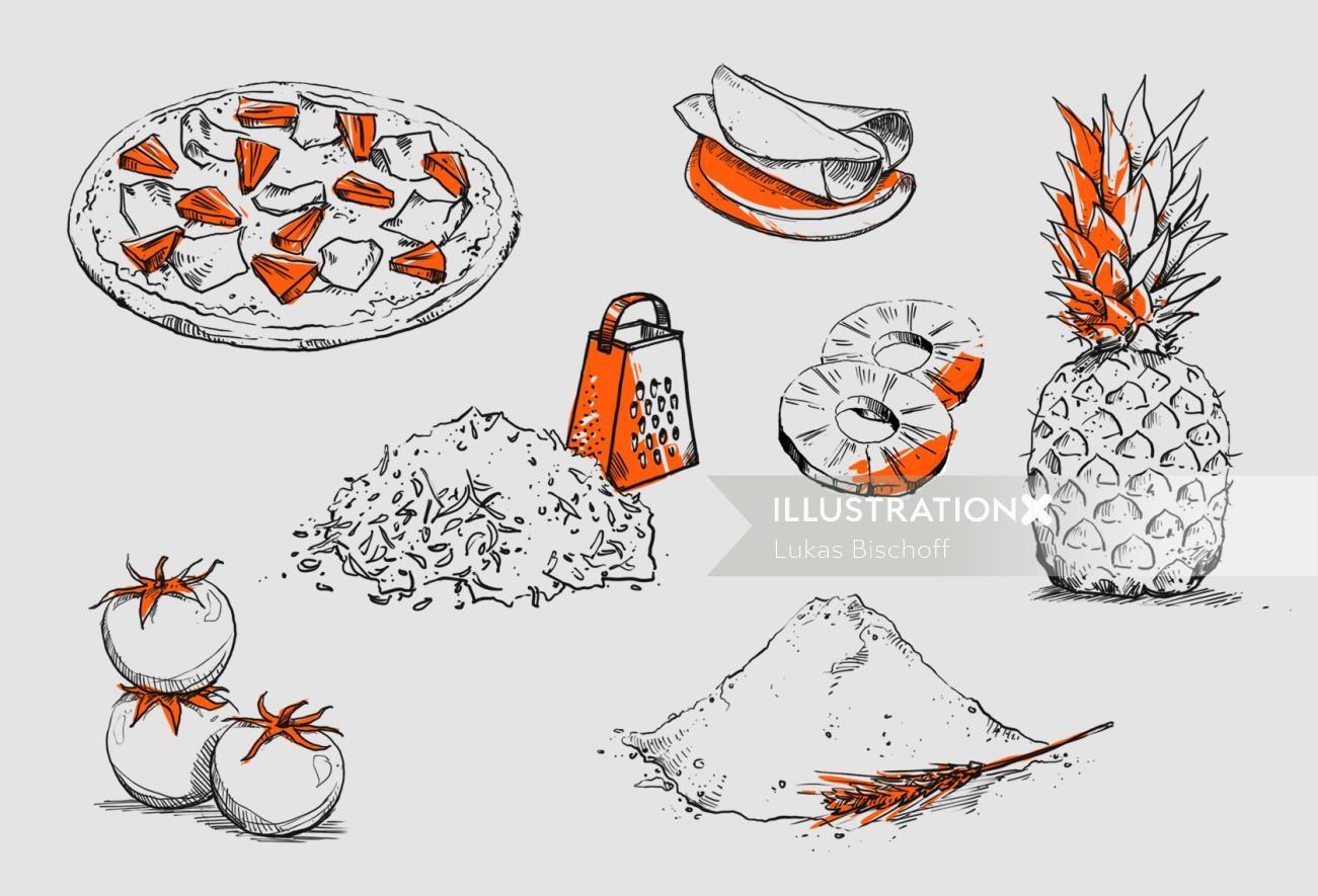 Food illustration of fruits and vegetables