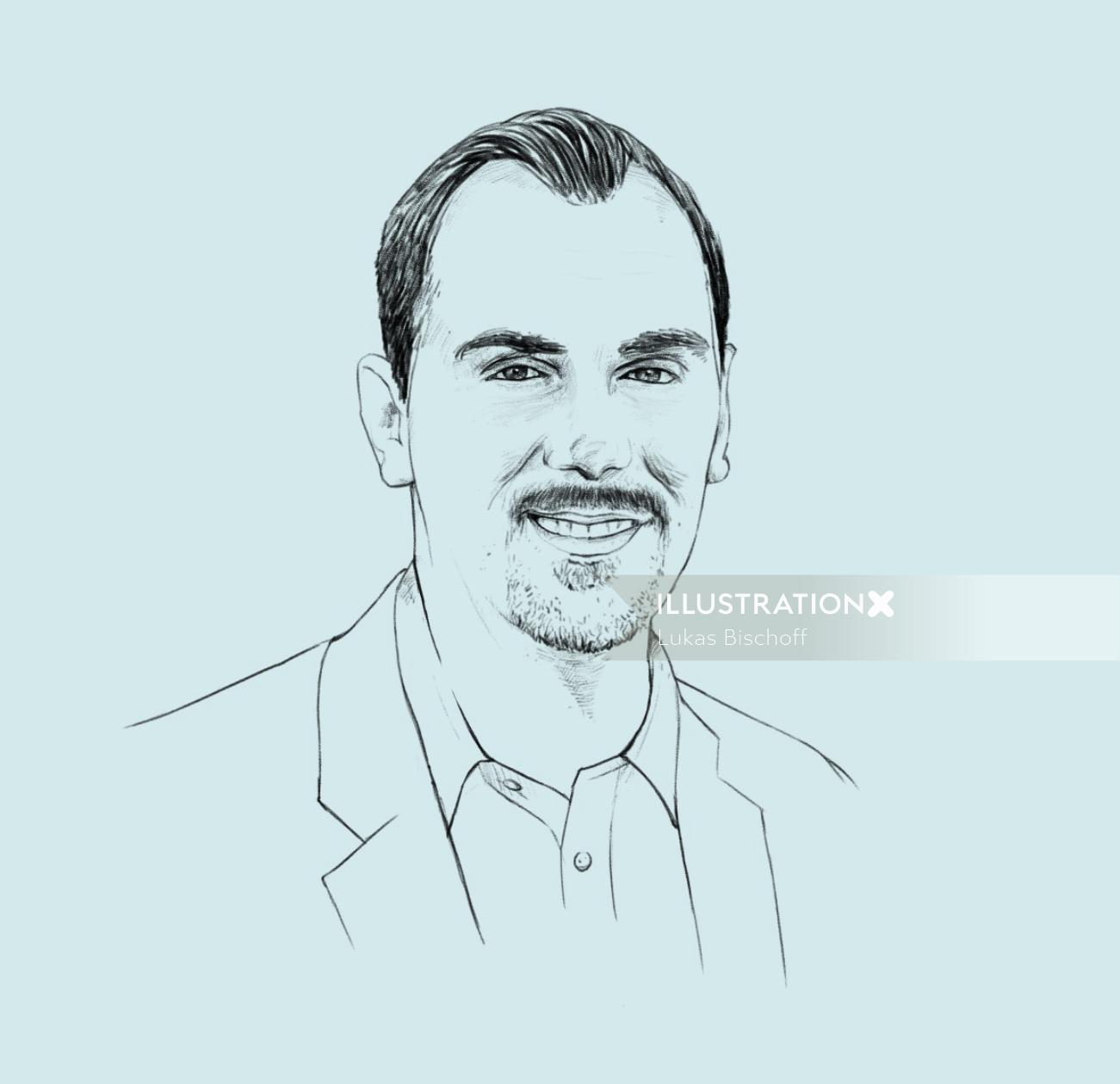 loose portrait illustration of man