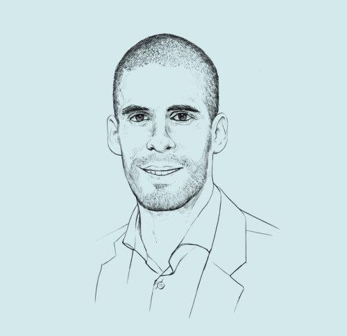 line illustration of bald man