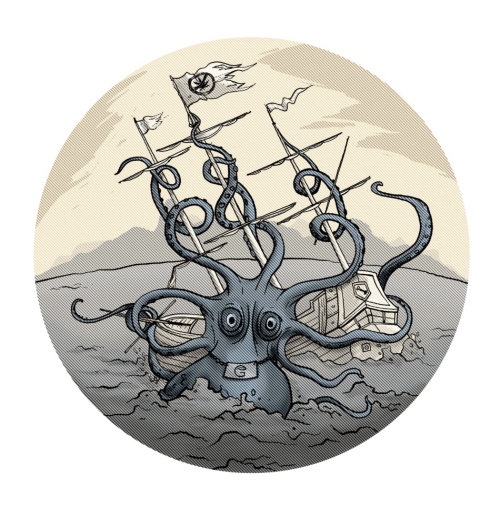 children cartoon illustration of octopus attaking