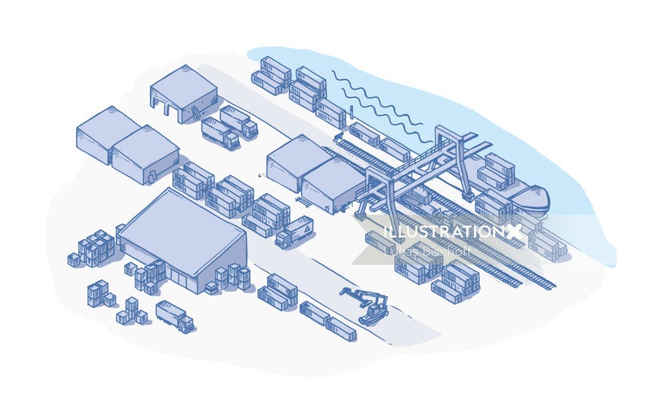 Sea Port Infographic Vector Art