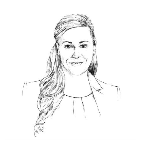 Pencil sketch portrait of women
