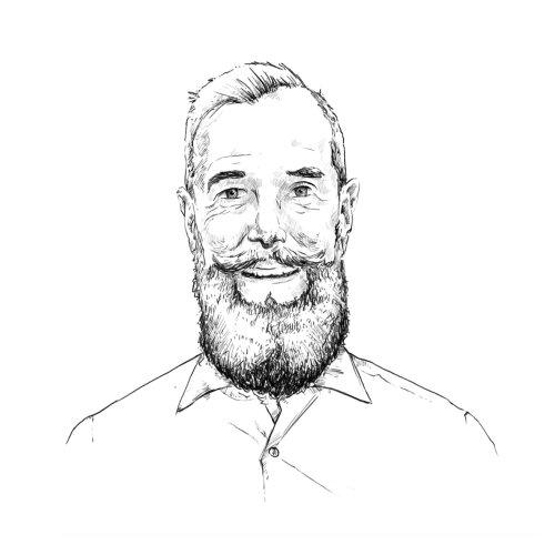 Arte do retrato do homem da barba por Lukas Bischoff