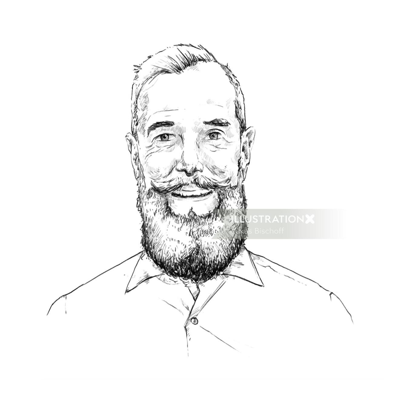 Beard man portrait art by Lukas Bischoff