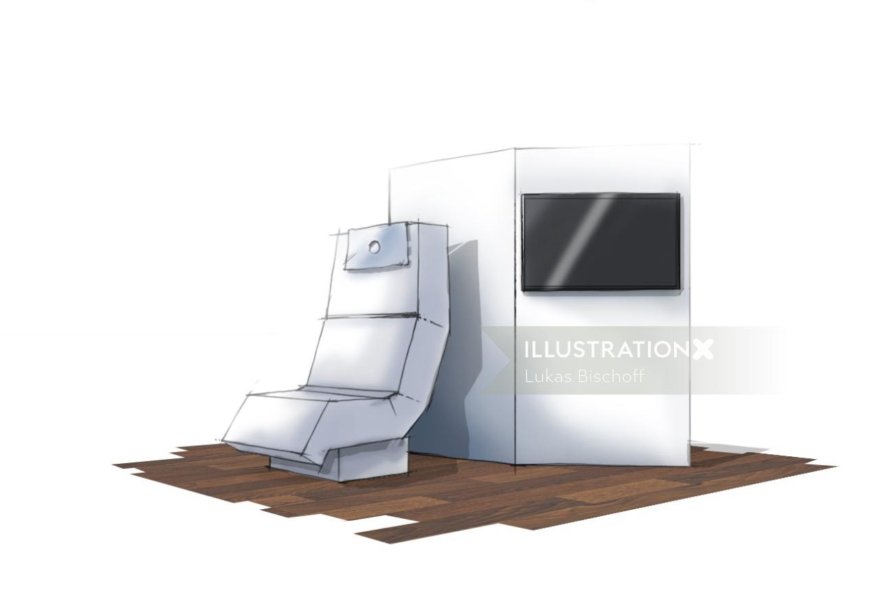 storyboard illustration of chair with tv