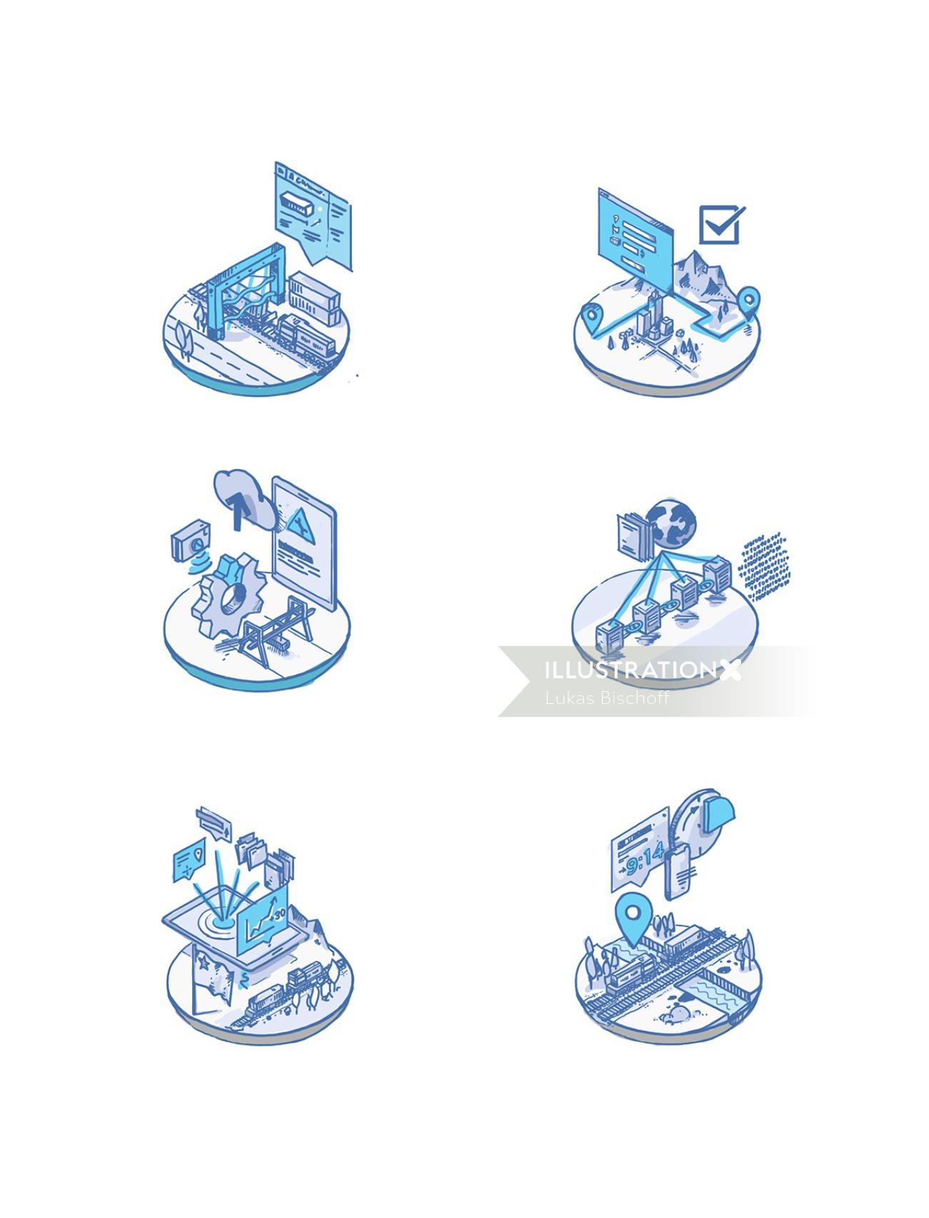 Database center infographic vector art