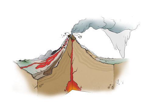 Nature illustration of volcano explode
