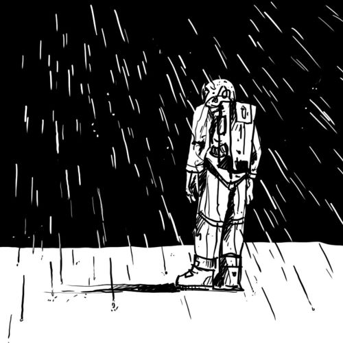 black and white illustration of man in rain