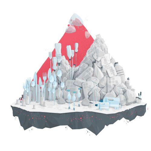Conceptual artwork of plastic pollution
