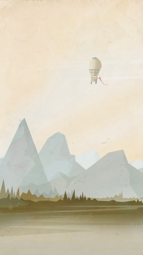 Air ballon in mountains
