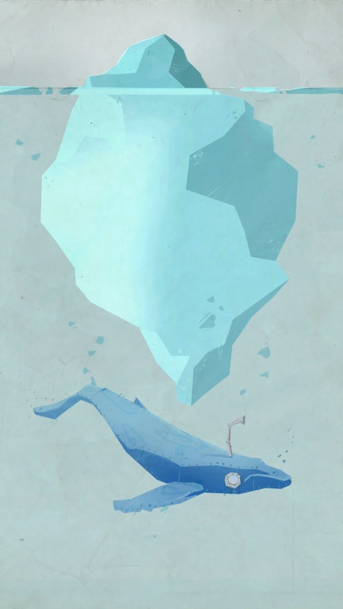 Graphic iceberg and whale