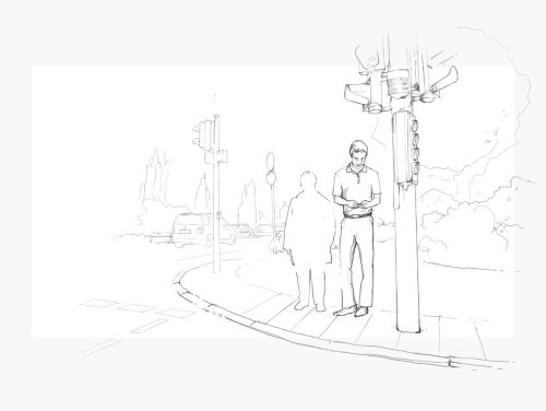 line illustration of people standing in street