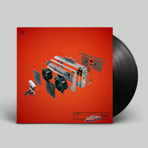 Red 3d vinyl record cover