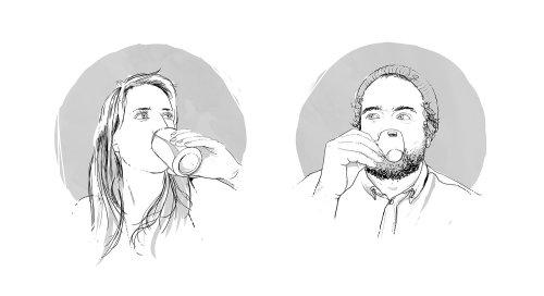black & white people drinking