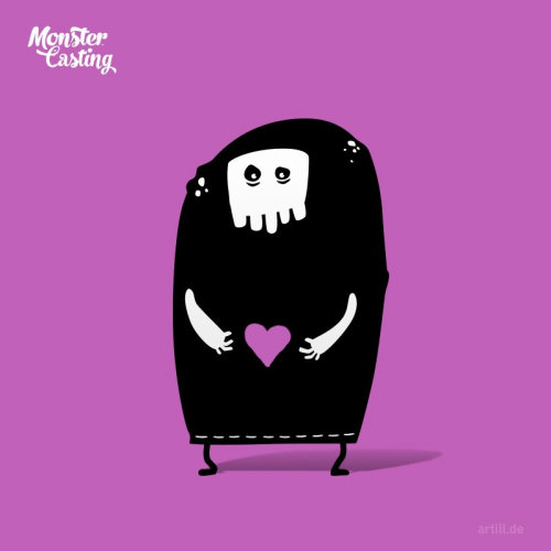 Illustration of monster with love