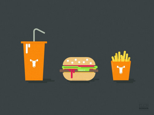 Food & drink illustration of burger and fries