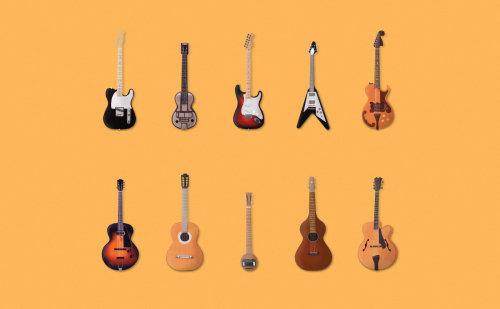 Music instruments guitars